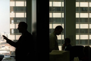 Office workers in silhouette