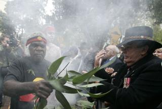 Aboriginal soldiers pictured at a memorial event earlier this year.
