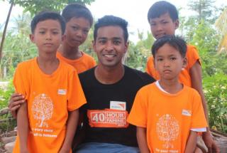 Jeeven with children from the Rukh Kiri community in Cambodia