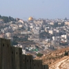"Jerusalem viewed from the Palestinian side of ""the wall""."