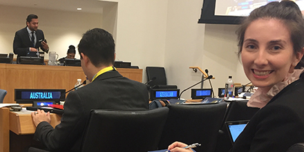 Jessica Elliott at the UN