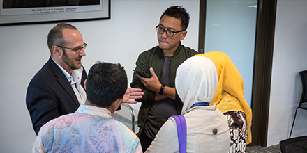 Professor Mark Nolan with a delegation of Indonesian security officials.