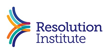 Resolution Institute Logo: it features the name of the organisation in blue, with an arrow shape made up of different coloured strokes.