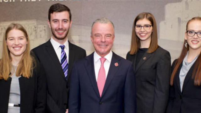 (L-R) Jennifer Kerr, Solomon Jones, Director of the AWM Dr Brendan Nelson AO, Nathalie Johnstone and Olivia Turner. Image courtesy C.A.S Hawker Scholarship.