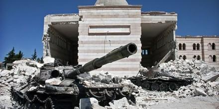 Destroyed Syrian tanks
