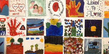 Collage of drawings and painting