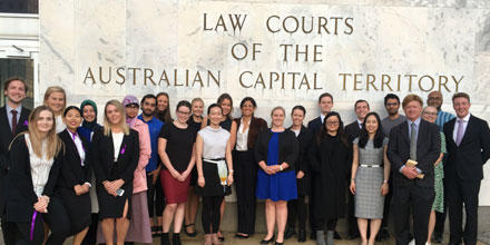 Students and Prof Faunce stand outside the ACT law courts