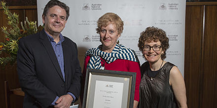Professor Stephen Bottomley, Mary Spiers Williams and Professor Kim Rubenstein at the 2017 ANU Staff Excellence Awards