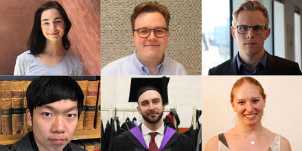 image shows six students who graduated from ANU Law in July 2018