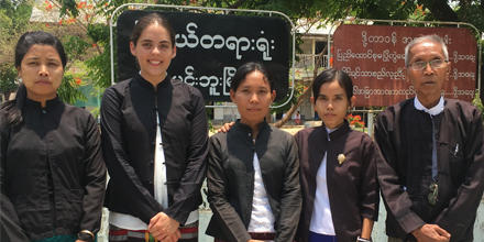 Alice-Esther-Dawkins standing next to Burmese lawyers in Minbu, Magwe Division, Myanmar, June 2017