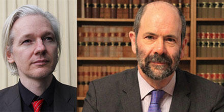 WikiLeaks founder Julian Assange (left) and Professor Donald Rothwell.