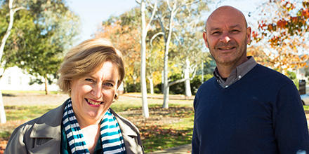ANU Sub Dean of Undergraduate Indigenous Studies Mary Spiers Williams and ANU Law Indigenous Academic Associate Justin McCaul.