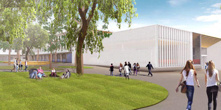 Image shows artist's impression of new ANU Law buildings