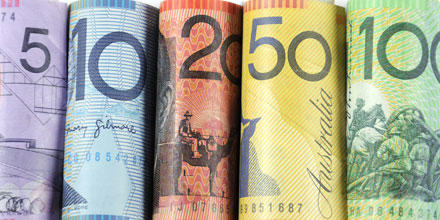 Image shows numerous Australian bank notes