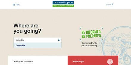 Screenshot of Smart Traveller Website