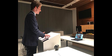 ANU student Javier Cross presents his case in an e-mooting competition