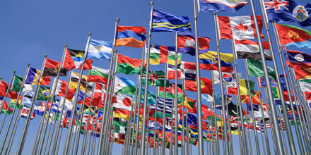 Image shows numerous national flags on flagpoles
