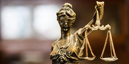 Statue of blindfolded Lady Justice