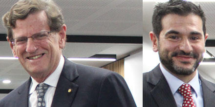 Composite image of Prof James Stellios (left) and Distinguished Honorary Prof. Robert French