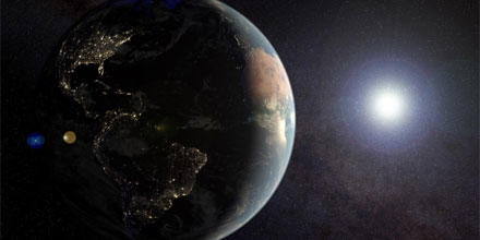 Image shows the earth and sun