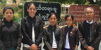 Alice-Esther-Dawkins standing next to Burmese lawyers in Minbu, Magwe Division, Myanmar, June 2017