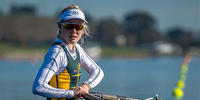 ANU Bachelor of Laws student Romola Davenport rowing for Australia at the 2017 Trans-Tasman Regatta in New Zealand.