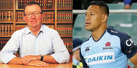 ANU Law lecturer Brett Walker (left) and sacked Wallaby Israel Folau.