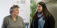 Dean Sally Wheeler (left) talks with Caitlin Figueiredo
