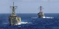 Military ships at sea