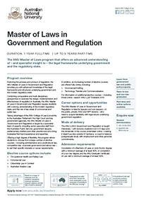 Master of Laws in Government and Regulation