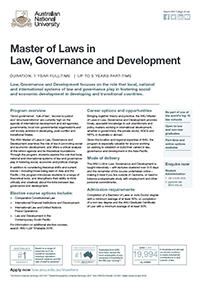Master of Laws in Law, Governance and Development