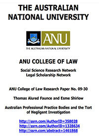 Australian Professional Practice Bodies and the Tort of Negligent Investigation