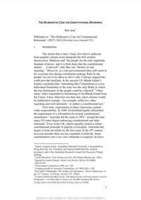 THE DELIBERATIVE CASE FOR CONSTITUTIONAL REFERENDA