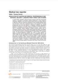 Regulation of Medical Professionals and National Security: Lessons from Three Case Studies