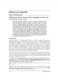 Seeding Australian Regulation of Genomics in the Cloud