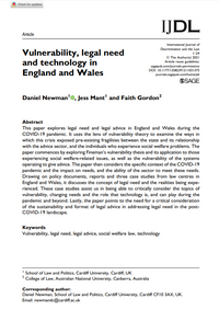 Vulnerability, legal need and technology in England and Wales