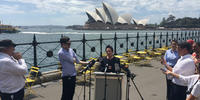 Image shows Sydney Lord Mayor Clover Moore at a press conference