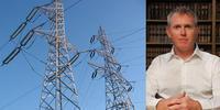 Composite image of Dr James Prest & electricity transmission lines