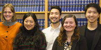 Image shows five ANU law students