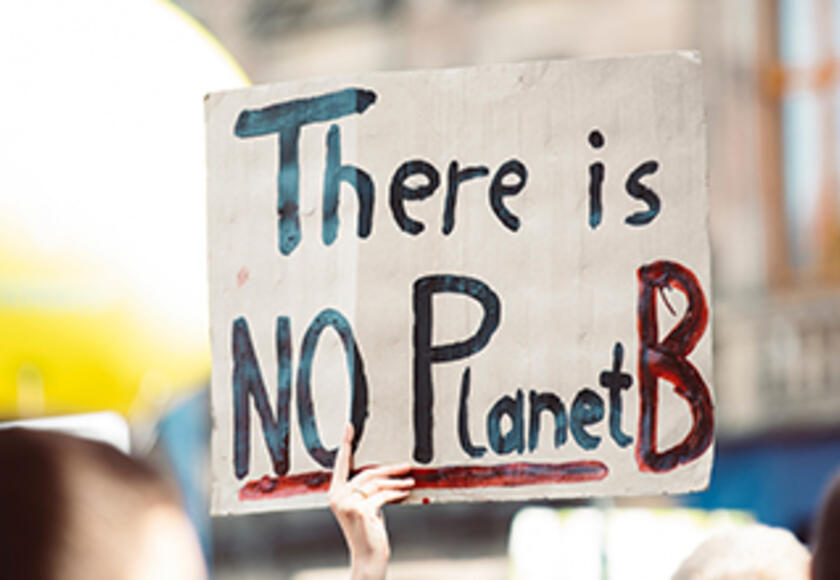 A climate activist holds a placard at a protest